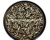 18 quot Round Side Table Top, End Table Black Marble Gorgeous Semi Precious Stone Floral Inlay Pietra Dura Art Handmade Work Room Decor