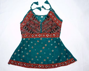 SPECIAL-50% OFF  - Green Toddler's dress, Hand Tie-dyed design with embroidery, sequence, and mirrors. Cotton.