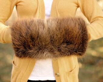 Genuine Fur Handwarmer / Muff - Beaver