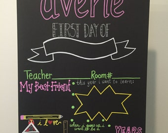 First Day of School Hand Painted Customized Reusable Chalkboard