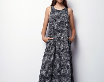 MOTHERS DAY GIFT, Black Maxi Dress, Loose Maxi Dresses, Loose Dress, Black and White Maxi Dress, Summer Maxi Dress for Women, Oversize Dress