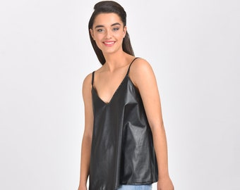 bfe4eae50e70 SALE Clothing Women Tank Top Faux Leather Tank Top Casual Tank Tops Faux  Leather Blouse Evening Tops Summer Tanks With Sayings For Her