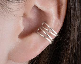 Women Ear cuff - double minimalist ear ring - fake piercing - silver sterling 950