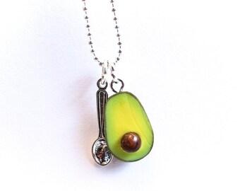 Avocado necklace, food necklace, polymer clay