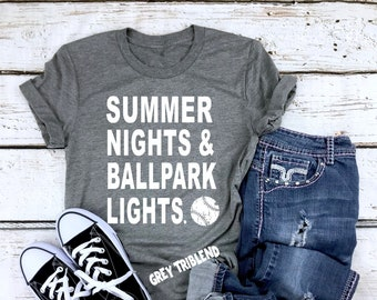 0bb210fe Summer Nights & Ballpark Lights || Baseball Mom || Baseball Tshirts || Baseball  Mom Shirts || Baseball Shirt Gift || Adult Unisex Shirt
