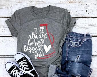 7fb61d3b6e1f Cheer Mom Shirt || Her biggest fan shirt || Cheer Tshirts || Cheerleading  Mom Shirts || Cheerleader Shirt Gift || Glitter Megaphone Shirt