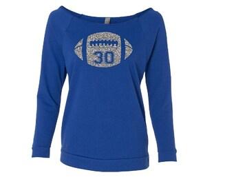 77225598f1b Football Mom Shirt.Glitter Football.Custom Football Shirt Off Shoulder Shirt.  Footballmom. Lightweight Wideneck 3 4 Sleeve Shirt