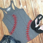 Baseball Tank Top. Baseball mom. Heather Grey Racerback. Relaxed Fit. Red Baseball Laces.