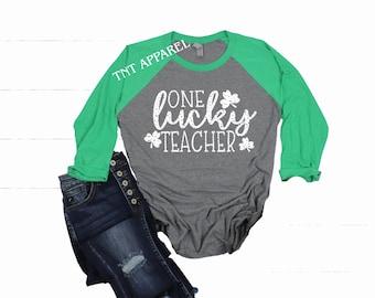 c0a1107ff St. Patricks Day Shirt || One Lucky Teacher || Baseball Raglan || Lucky  Teacher || Lucky Irish Teacher Shirt