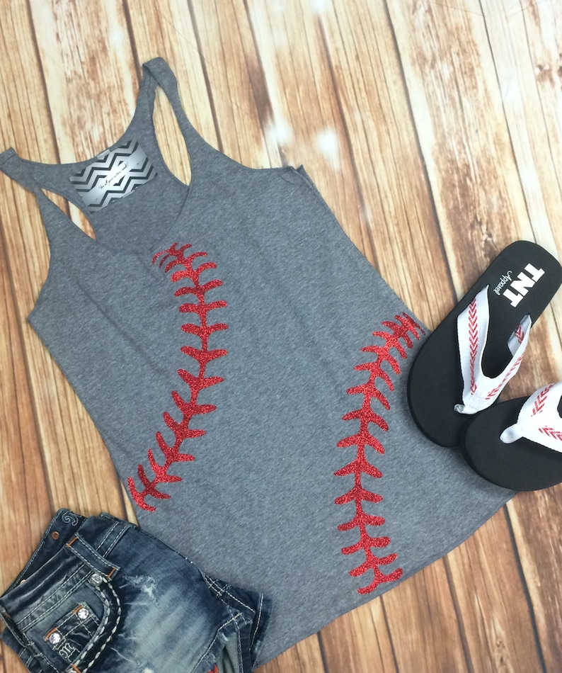 Baseball Tank Top. Baseball mom. Heather Grey Racerback. image 0