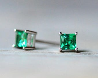 7f6220585 Tiny Princess Cut Emerald Stud Earrings in .925 Sterling Silver, 4mm Square  Stud Earrings, May Birthstone Earrings, Green Birthstone Jewelry