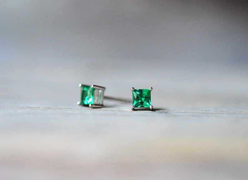 6daa1878ee722 Tiny Princess Cut Emerald Stud Earrings in .925 Sterling Silver, 4mm Square  Stud Earrings, May Birthstone Earrings, Green Birthstone Jewelry