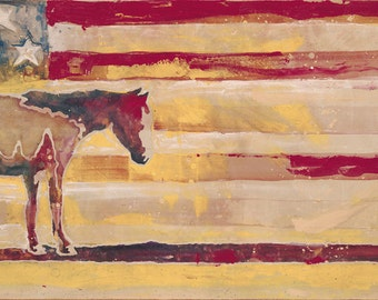 Horse Red White and Blue-Giclee Fine Art Poster Print on canvas or paper