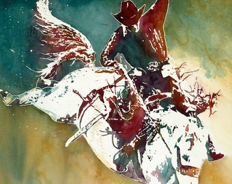 Bronco Buster - Giclee Fine Art Poster Print on canvas or paper