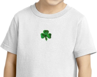 St Patrick's Day Shamrock Sequins Patch Middle Print Toddler Shirt 1113217-MP-CAR54T