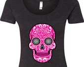 Ladies Pink Sugar Skull Scoop Neck Shirt 21524E2-6730