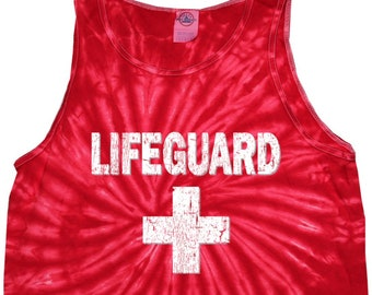 cefd2718d1e37b Distressed Lifeguard Adult Tie Dye Tank Top DLIFEGUARD-3500