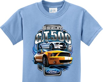 2afe7d453 Ford Mustang Shelby Yellow & White GT500 Kids Tee T-Shirt 17931D2-PC61Y