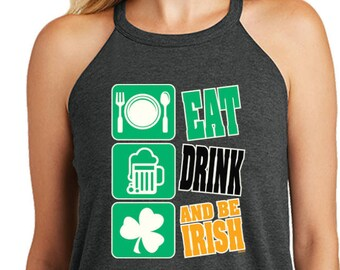 59fe8019677d28 Eat Drink And Be Irish Ladies St Patrick s Day Tri Blend Rocker Tank Top  11797-DT137L