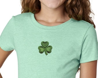 Girl's St Patrick's Day Shamrock Patch Middle Print Shirt Tee T-Shirt 695794-MP-3712