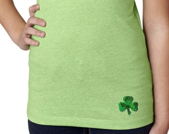 Girl's St Patrick's Day Shamrock Sequins Patch Bottom Print Shirt Tee T-Shirt 1113217-BO-3712