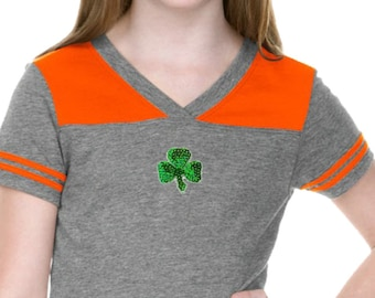 Girl's St Patrick's Day Shamrock Sequins Patch Middle Print Football Tee 1113217-MP-GJP0604