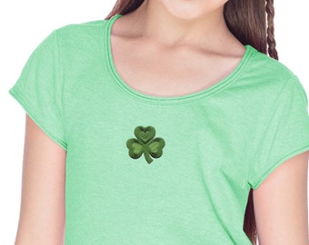 Girls St Patrick's Day Shamrock Patch Middle Print Fringe T-Shirt 695794-MP-GJP0673