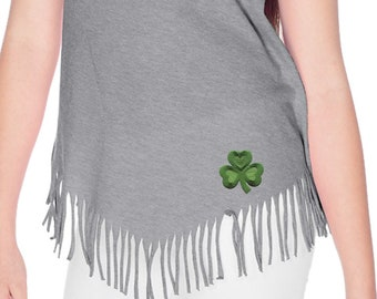 Girls St Patrick's Day Shamrock Patch Bottom Print Fringe T-Shirt 695794-BO-GJP0673