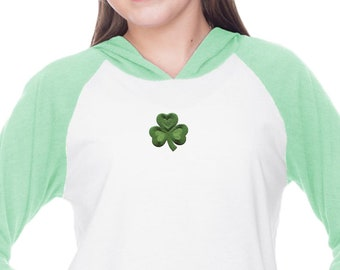 Kids St Patrick's Day Shamrock Patch Middle Print Long Sleeve Raglan Hoodie Shirt 695794-MP-YJP0677
