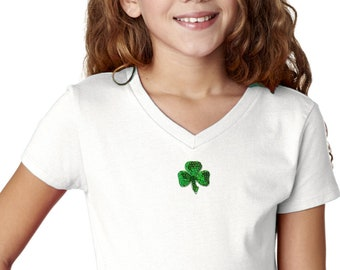 Girl's St Patrick's Day Shamrock Sequins Patch Middle Print T-Shirt 1113217-MP-2607