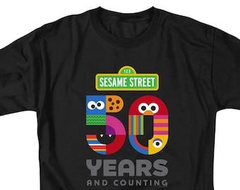 60e26dfc Sesame Street 50th Anniversary Logo Black Shirts