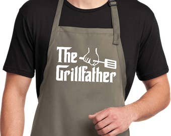 9e1bc2957d3 The Grillfather White Print Men s Full Length Apron with Pockets  WGRILLFATHER-A700. BuyCoolShirts  22.99