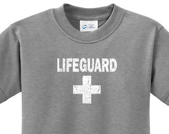 49758c8b6fe Kid s Funny Shirt Distressed Lifeguard Tee T-Shirt DISTRESSEDLIFEGUARD-PC61Y