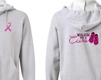Breast Cancer Awareness Men's Hoodie Walkin For a Cure Front & Back Print Full Zip Hoody FBWALKIN-993