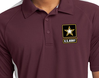 7af880cbaa1f US Army Pocket Print Men's Micro-Mesh Colorblock Polo Shirt ARMY-PP-ST685