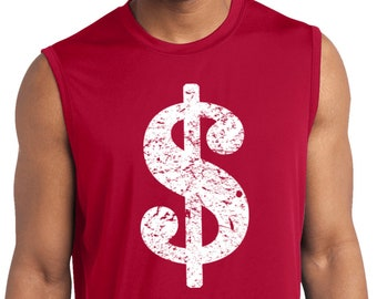 9b1fe174b Men's Funny Shirt Distressed Dollar Sign Sleeveless Moisture Wicking Tee T-Shirt  DOLLAR-ST352