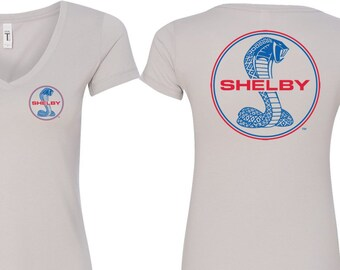 Blue and Red Shelby Cobra Pocket Print Ladies Ford Polo Tee T-Shirt 18150EL9-PP-KL908