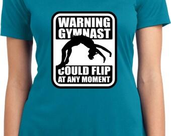 Avertissement gymnaste pourrait Flip à tout moment Enfants Jeunes T-shirt Tee Gymnastique