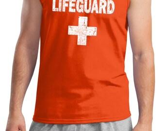 22120a05d74733 Men s Funny Tanktop Distressed Lifeguard Tank Top DISTRESSEDLIFEGUARD-2200