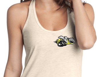 4b932938b93efe Ladies Dodge Super Bee Logo Pocket Print T-Back Tank Top 20338HL2-PP-DT250