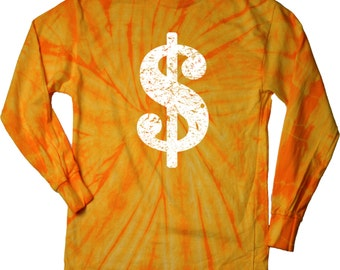 157cc5dd4 Men's Funny Shirt Distressed Dollar Sign Long Sleeve Tie Dye Tee T-Shirt  DOLLAR-2000