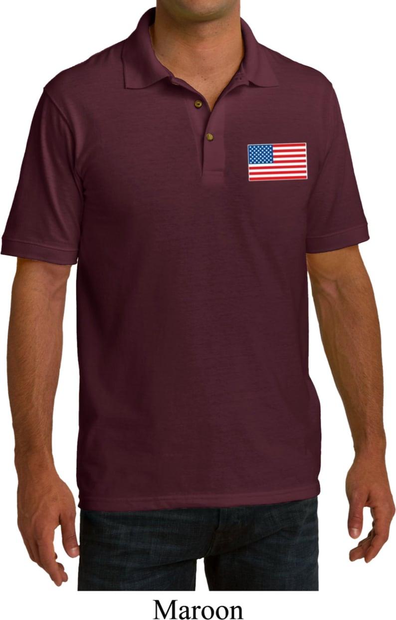 US Flag Pocket Print Mens Pique Polo Tee T-Shirt 3991-KP150