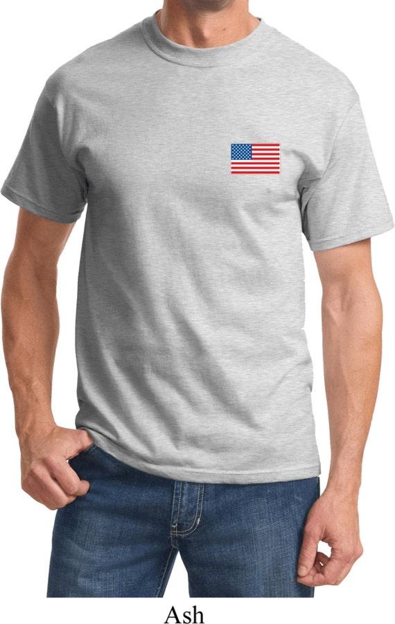 US Flag Pocket Print Adult Tee T-Shirt 3991-PC61