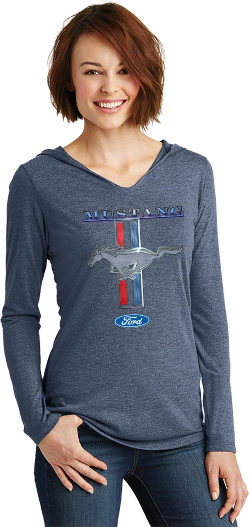 Ford Mustang Stripe Ladies Tri Blend Long Sleeve Hoodie Shirt 13732D1-DM139L