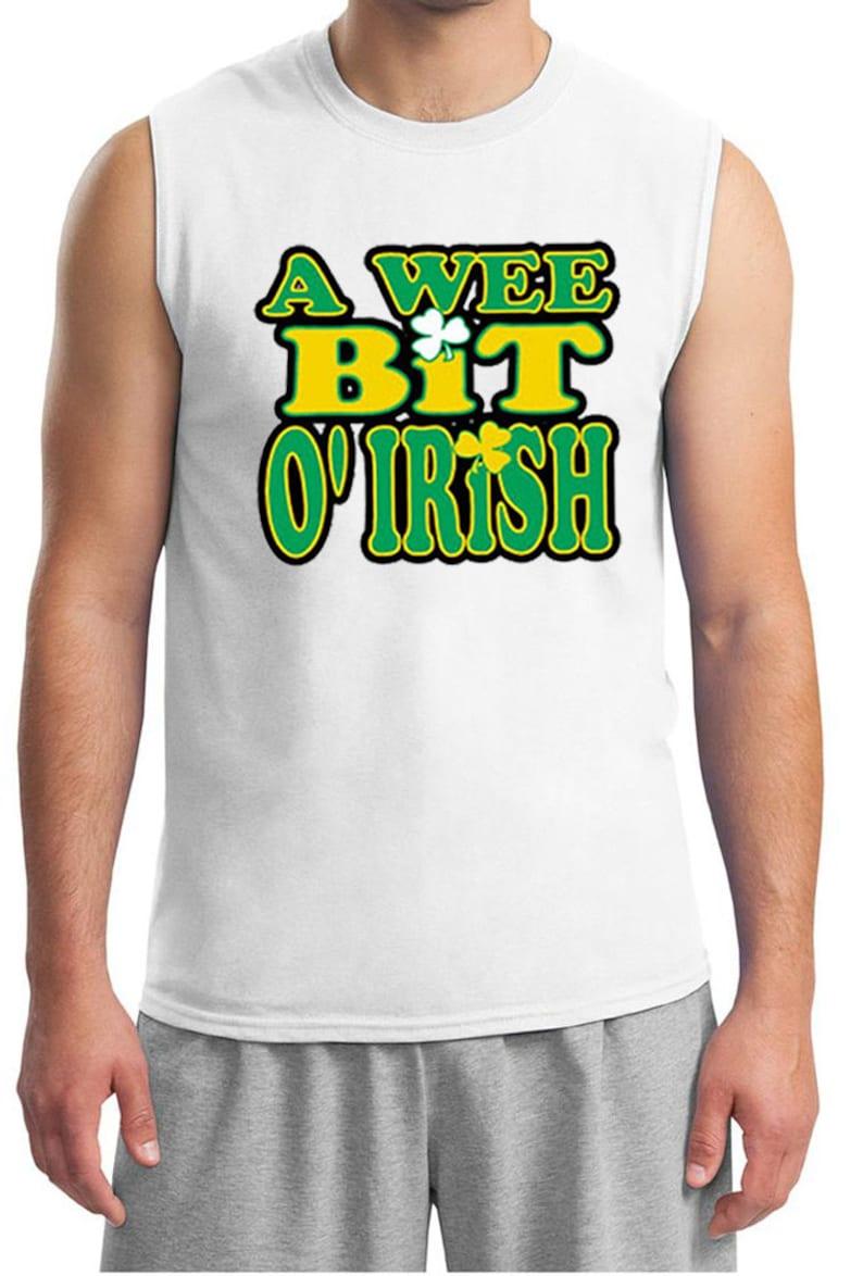 St Patrick/'s Day Men/'s A Wee Bit Irish Muscle Tee T-Shirt A10000-2700