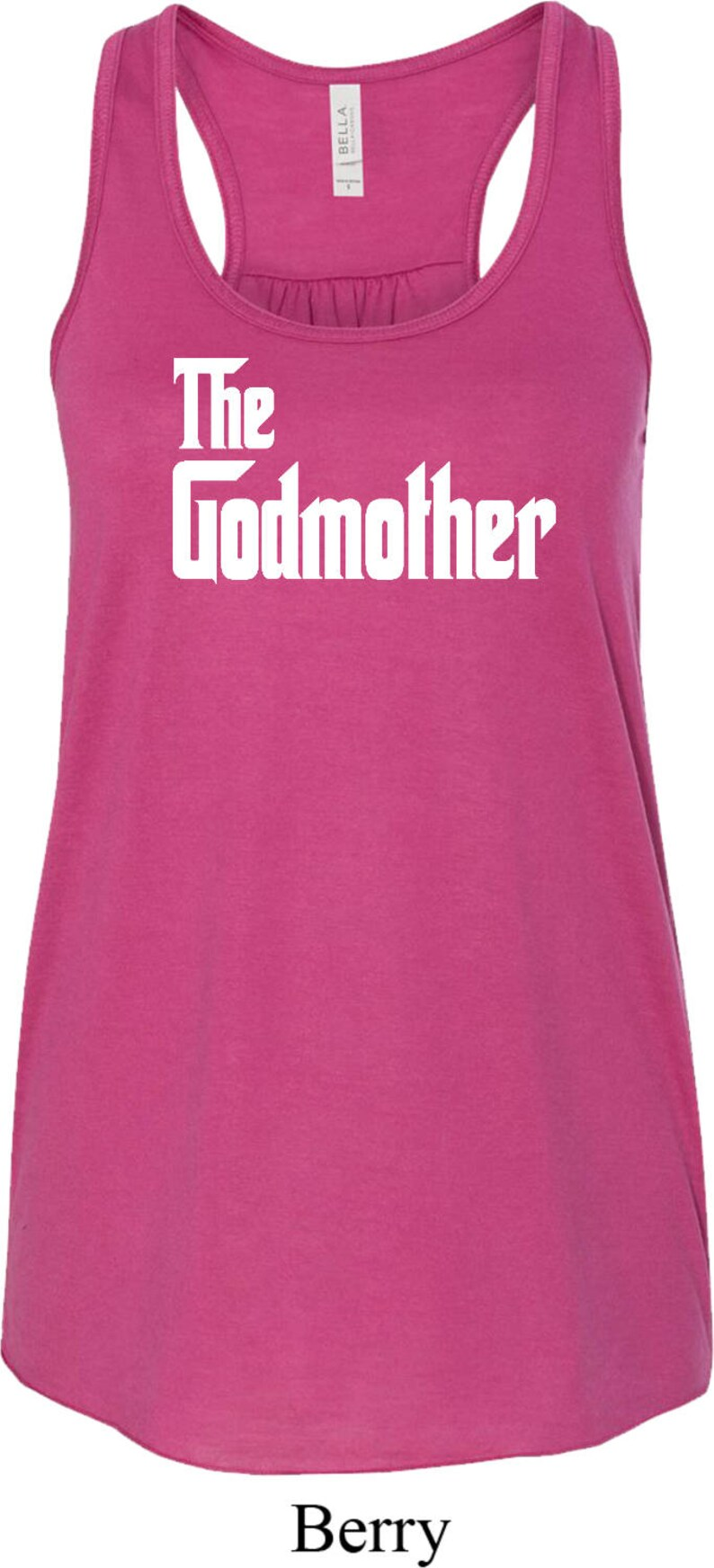 The Godmother White Print Ladies Flowy Racerback Tank Top WGODMOTHER-8800