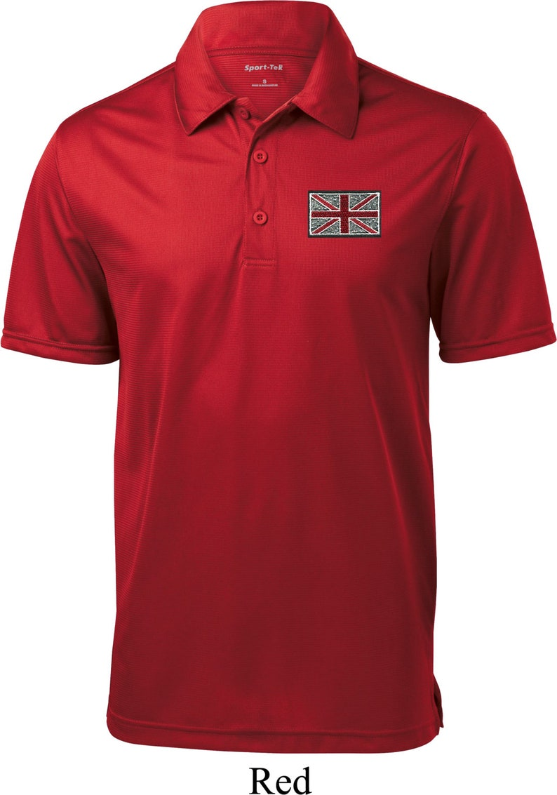 Men/'s Union Jack Patch Pocket Print Textured Polo Tee T-Shirt UNIONJACK-PP-ST690