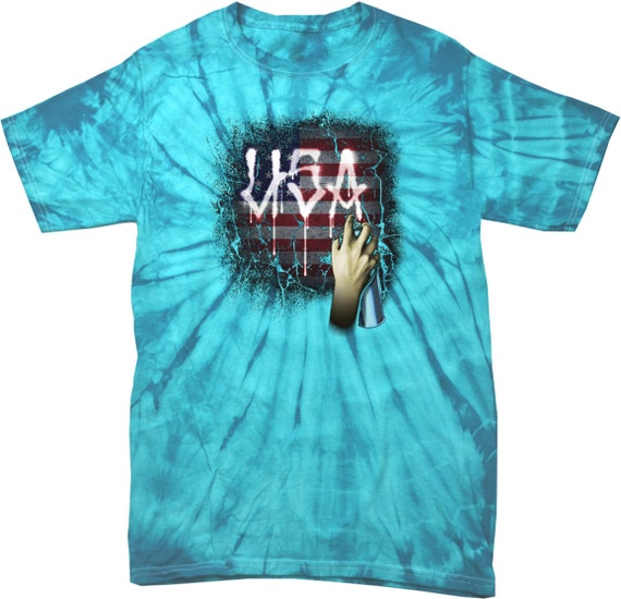 Adulte Tie USA peinture en aérosol araignée Tie Adulte Dye Tee T-Shirt 21665D 2-1000 24cc10