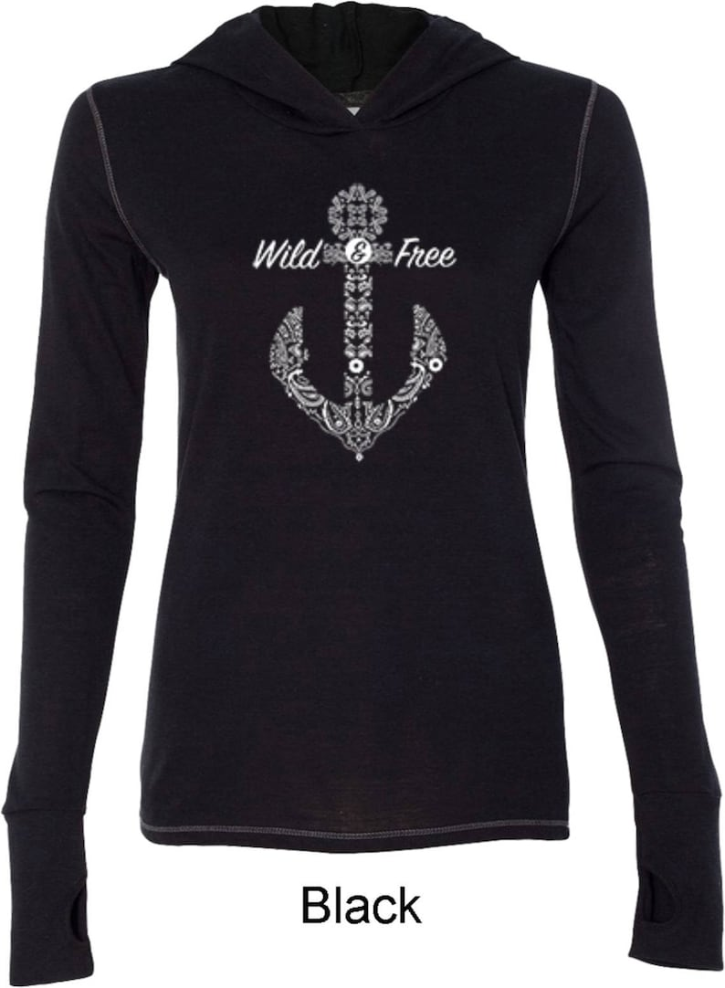 Ladies Wild and Free Anchor Tri Blend Hoodie Tee T-Shirt WS-18844-W3101