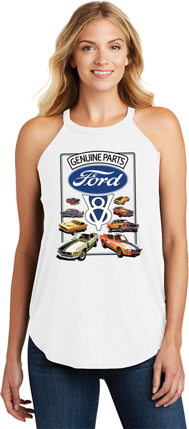 Mustang V8 Collection Genuine Ford Parts Ladies Ford Tri Blend Rocker Tank Top 22000HD2-DT137L